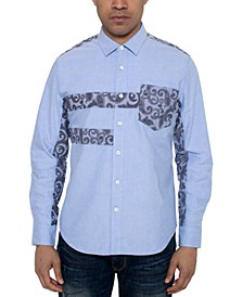 Men's Regular-Fit Paisley Pieced Oxford Shirt