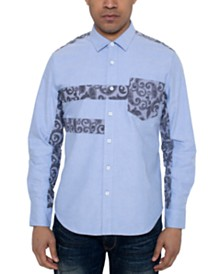 Sean John Men's Regular-Fit Paisley Pieced Oxford Shirt