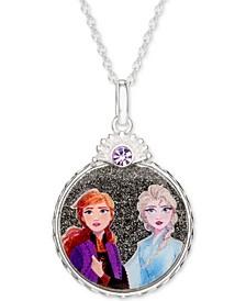 "Children's Frozen Anna & Elsa Crystal Pendant Necklace in Sterling Silver, 16"" + 2"" Extender"