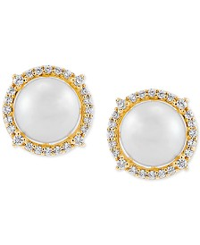 Honora Cultured Freshwater Pearl (7mm) & Diamond (1/6 ct. t.w.) Stud Earrings in 14k Gold