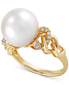 White Ming Pearl (12mm) & Diamond (1/6 ct. t.w.) Ring in 14k Gold