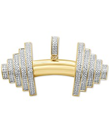 Men's Diamond Barbell Pendant (3/4 ct. t.w.) in 14k Gold-Plated Sterling Silver