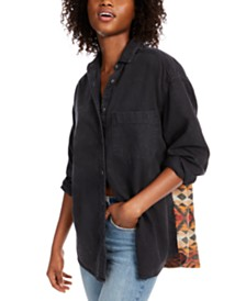 Free People Echo Rock Cotton Printed-Back Shirt