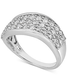 Diamond Cluster Swirl Band (1 ct. t.w.) in 14k White Gold
