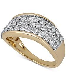 Diamond Cluster Swirl Band (1 ct. t.w.) in 14k Gold