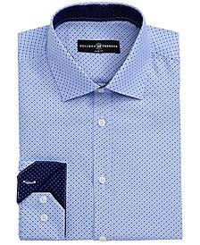 Men's Slim-Fit Performance Black Geometric Dot Dress Shirt
