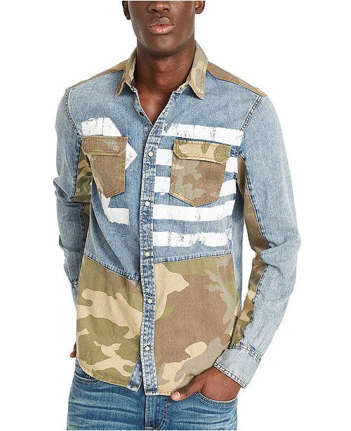 Buffalo David Bitton Men's Sarax Regular-Fit Pieced Colorblocked Printed Shirt