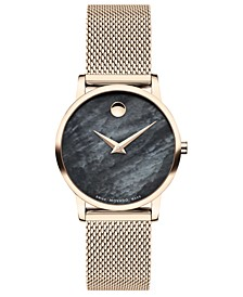 Women's Swiss Museum Classic Rose Gold PVD Stainless Steel Mesh Bracelet Watch 28mm