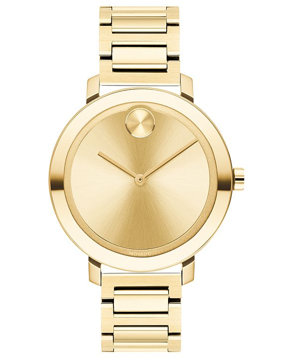 Movado Women's Evolution Swiss Bold Gold Ion-Plated Stainless Steel Bracelet Watch 34mm