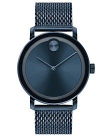 Movado Men's Swiss Bold Blue Ion-Plated Stainless Steel Mesh Bracelet Watch 40mm