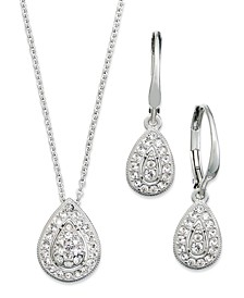 Rhodium-Plated Crystal Teardrop Earrings and Pendant Necklace Set, Created for Macy's