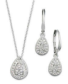 Danori Jewelry Set, Rhodium-Plated Crystal Teardrop Earrings and Pendant Necklace