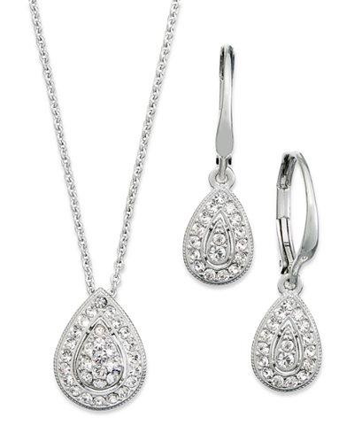 Danori Jewelry Set, Rhodium-Plated Crystal Teardrop Earrings and Pendant Necklace