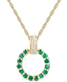 "Emerald (1 ct. t.w.) & Diamond (1/20 ct. t.w.) Circle 18"" Pendant Necklace in 14k Gold (Also in Sapphire, Pink Sapphire & Certified Ruby)"