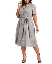 Anne Klein Plus Size Belted Jacquard Shirtdress