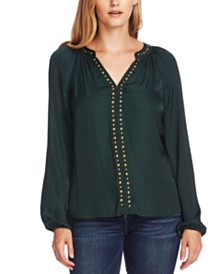 Vince Camuto Studded Blouson-Sleeve Top