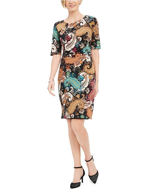 Connected Petite Paisley-Print Ruched Sheath Dress
