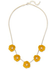 """Gold-Tone & Suede-Painted-Finished Flower Collar Necklace, 17"""" + 2"""" extender"""