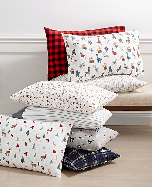 Martha Stewart Collection Closeout Printed 100 Cotton Flannel Pair Of Standard Pillowcases Created For Macy S Reviews Sheets Pillowcases Bed Bath Macy S
