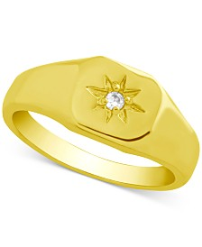 Essentials Crystal Starburst Signet Ring in Gold-Plate
