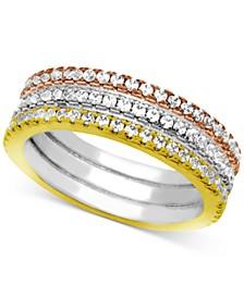 Three-Row Crystal Band Ring in Tri-Tone