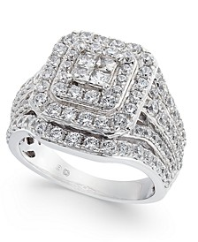 Diamond Princess Cluster Ring (2 ct. t.w.) in 14k White Gold