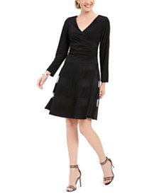 R & M Richards Petite Illusion-Stripe Fit & Flare Dress