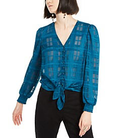 INC Illusion-Plaid Tie-Front Top, Created for Macy's