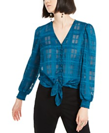 I.N.C. Illusion-Plaid Tie-Front Top, Created for Macy's