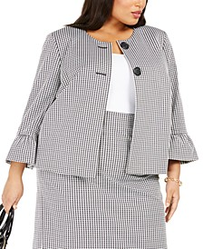 Plus Size Houndstooth-Print Bell-Sleeve Blazer