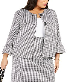 Nine West Plus Size Houndstooth-Print Bell-Sleeve Blazer