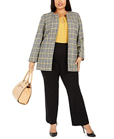 Plus Size Plaid Open-Front Blazer, Keyhole Sleeveless Top & Pull-On Compression-Waist Pants