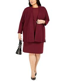 Plus Size Dress & Cardigan Suit