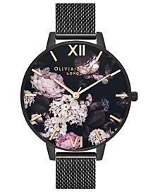 Women's Black Stainless Steel Mesh Bracelet Watch 38mm