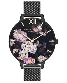 Olivia Burton Women's Black Stainless Steel Mesh Bracelet Watch 38mm