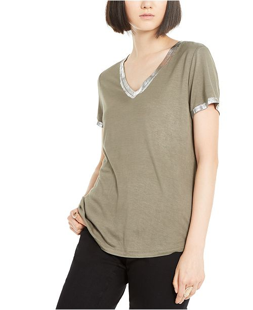 INC International Concepts INC Metallic-Trim T-Shirt, Created for Macy's
