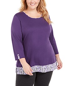 Plus Size Printed-Hem 3/4-Sleeve Top, Created for Macy's