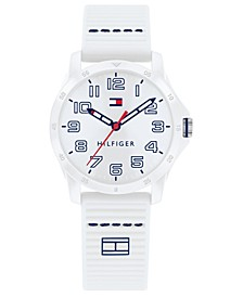 Kid's White Silicone Strap Watch 32mm, Created For Macy's