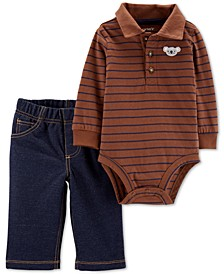 Baby Boys 2-Pc. Cotton Polo Bodysuit & Pants Set
