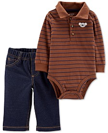 Carter's Baby Boys 2-Pc. Cotton Polo Bodysuit & Pants Set