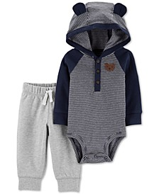 Baby Boys 2-Pc. Cotton Hooded Bodysuit & Jogger Pants Set