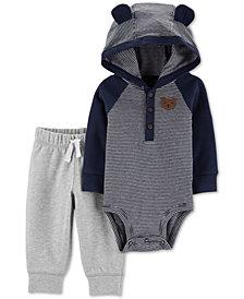 Carter's Baby Boys 2-Pc. Cotton Hooded Bodysuit & Jogger Pants Set