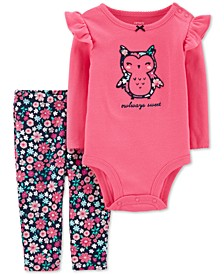 Baby Girls 2-Pc. Cotton Owl Bodysuit & Floral-Print Leggings Set