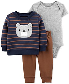Carter's Baby Boys 3-Pc. Bear Sweatshirt, Bodysuit & Jogger Pants Set