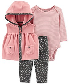 Baby Girls 3-Pc. Fleece Vest, Floral-Print Bodysuit & Jeggings Set