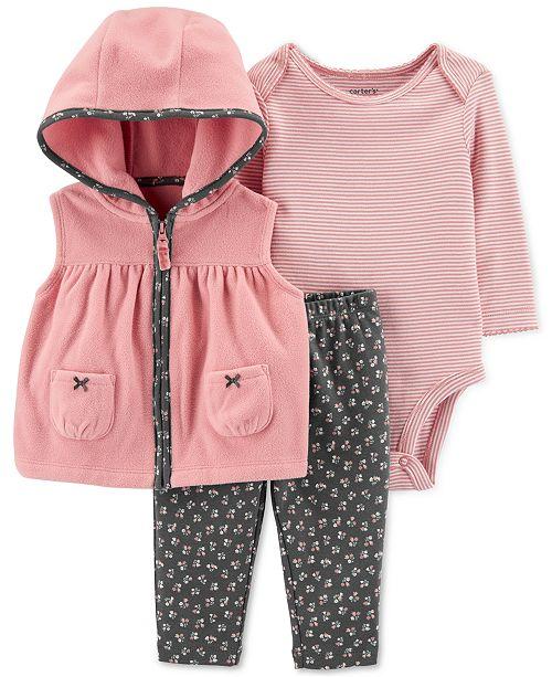 Carter's Baby Girls 3-Pc. Fleece Vest, Floral-Print Bodysuit & Jeggings Set
