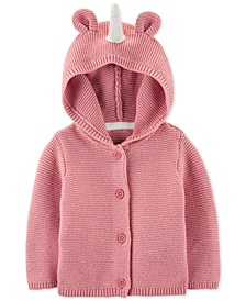 Baby Girls Cotton Hooded Unicorn Cardigan