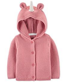 Baby Girls Cotton Hooded Unicorn Cardigan