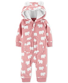 Baby Girls Polar Bear Fleece Coverall