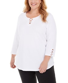 Karen Scott Plus Size Cotton Crisscross-Trim Top, Created for Macy's